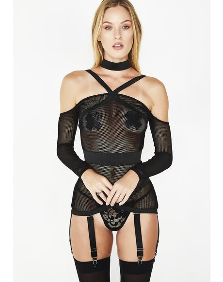 See Through Me Fishnet Corselette