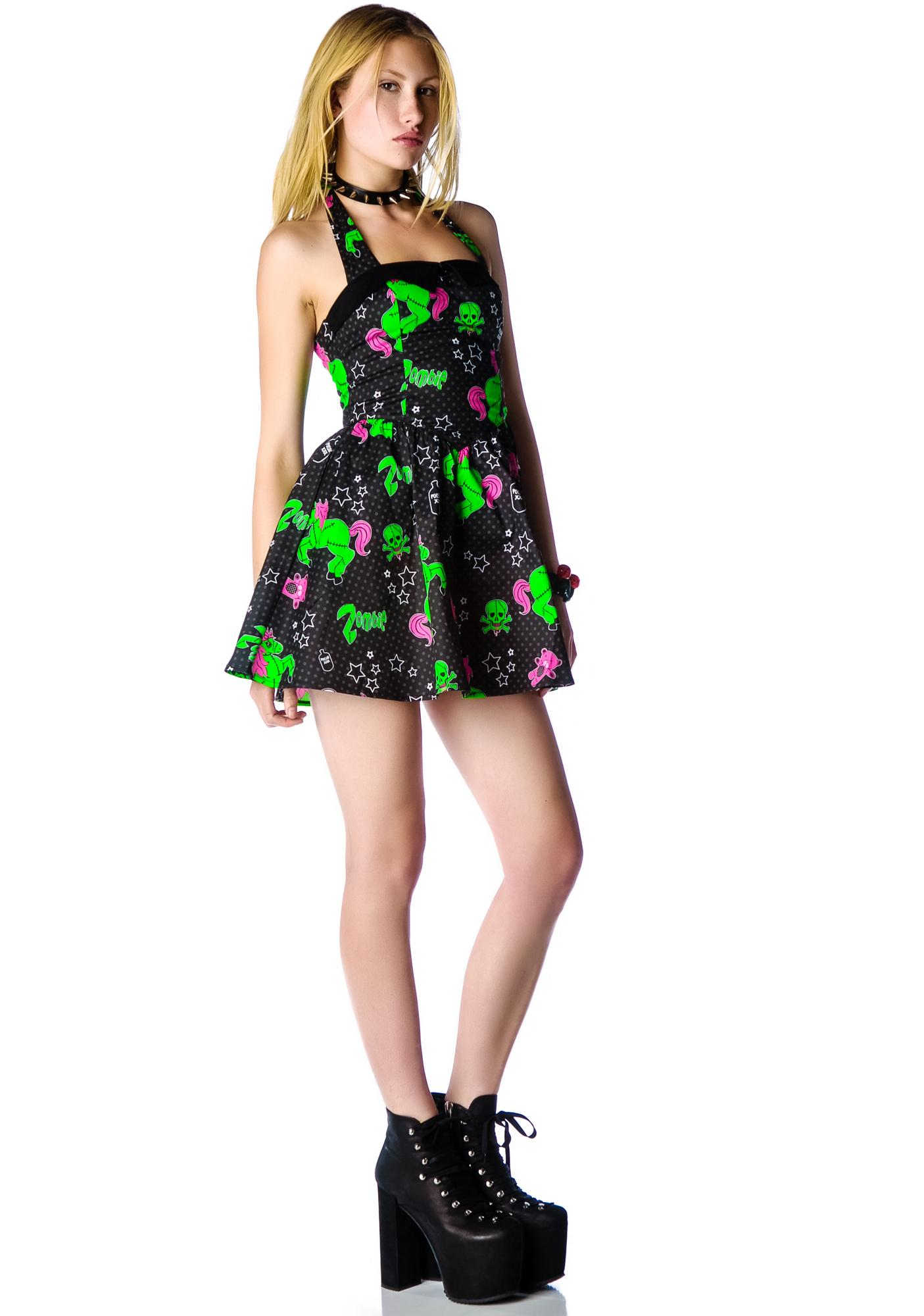 Hell Bunny I Heart Unizombies Mini Halter Dress