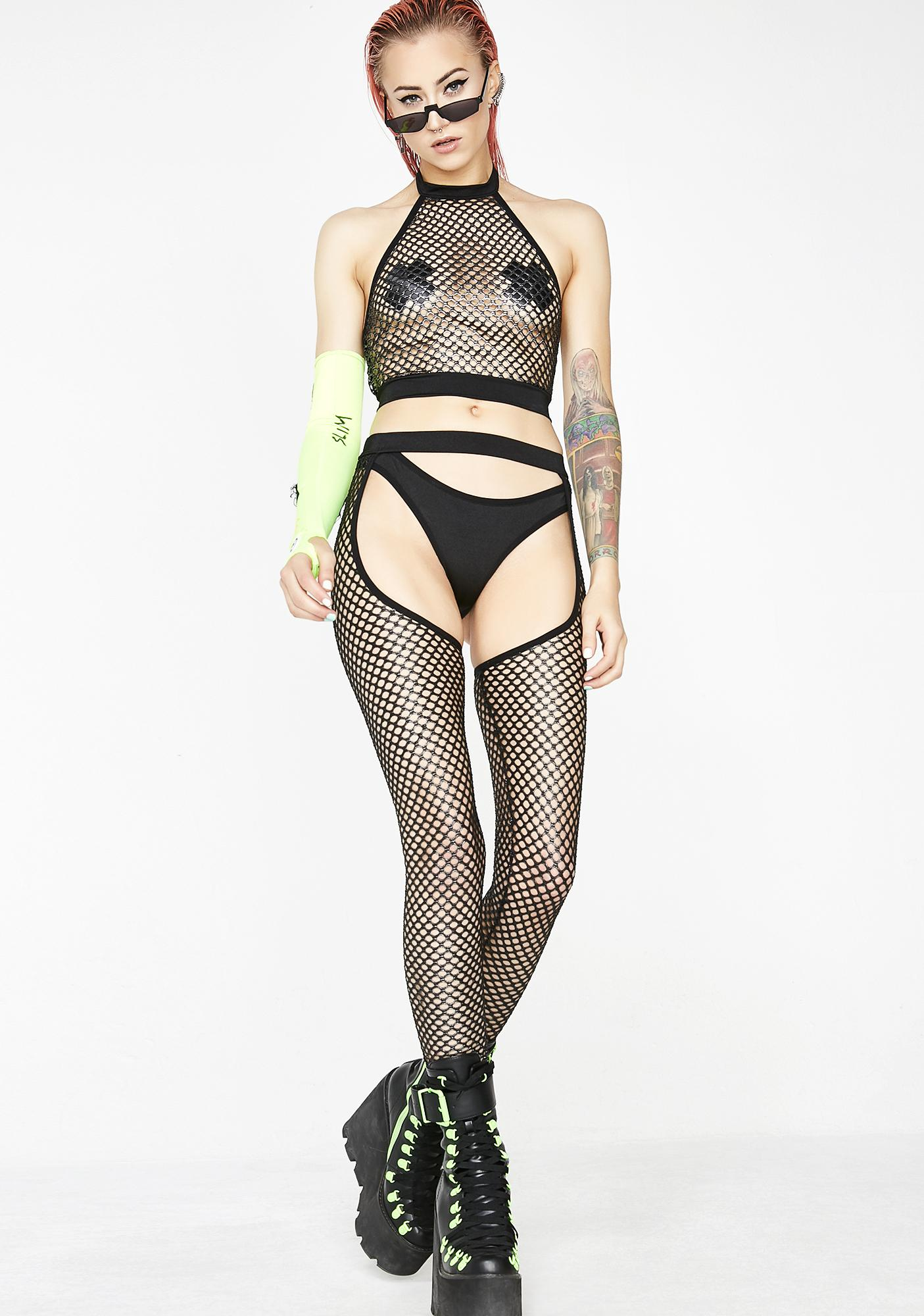 Club Exx Electronica Fishnet Halter Top