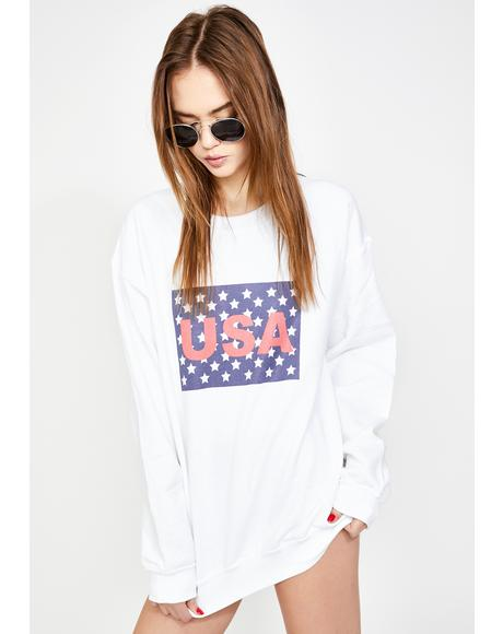 USA Graphic Print Boyfriend Sweater
