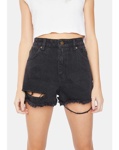 Layla Black Dusters Distressed Denim Shorts