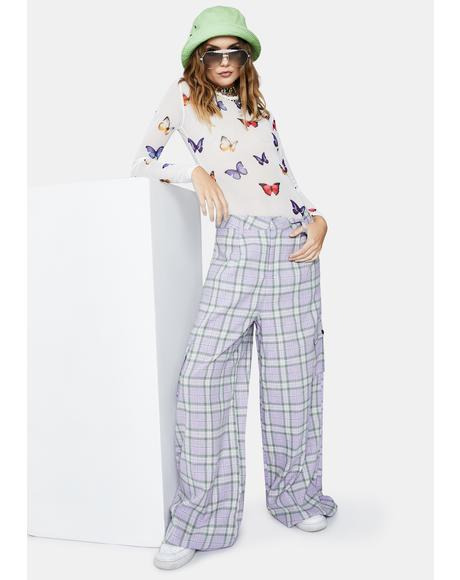 Lilac Checked Trousers