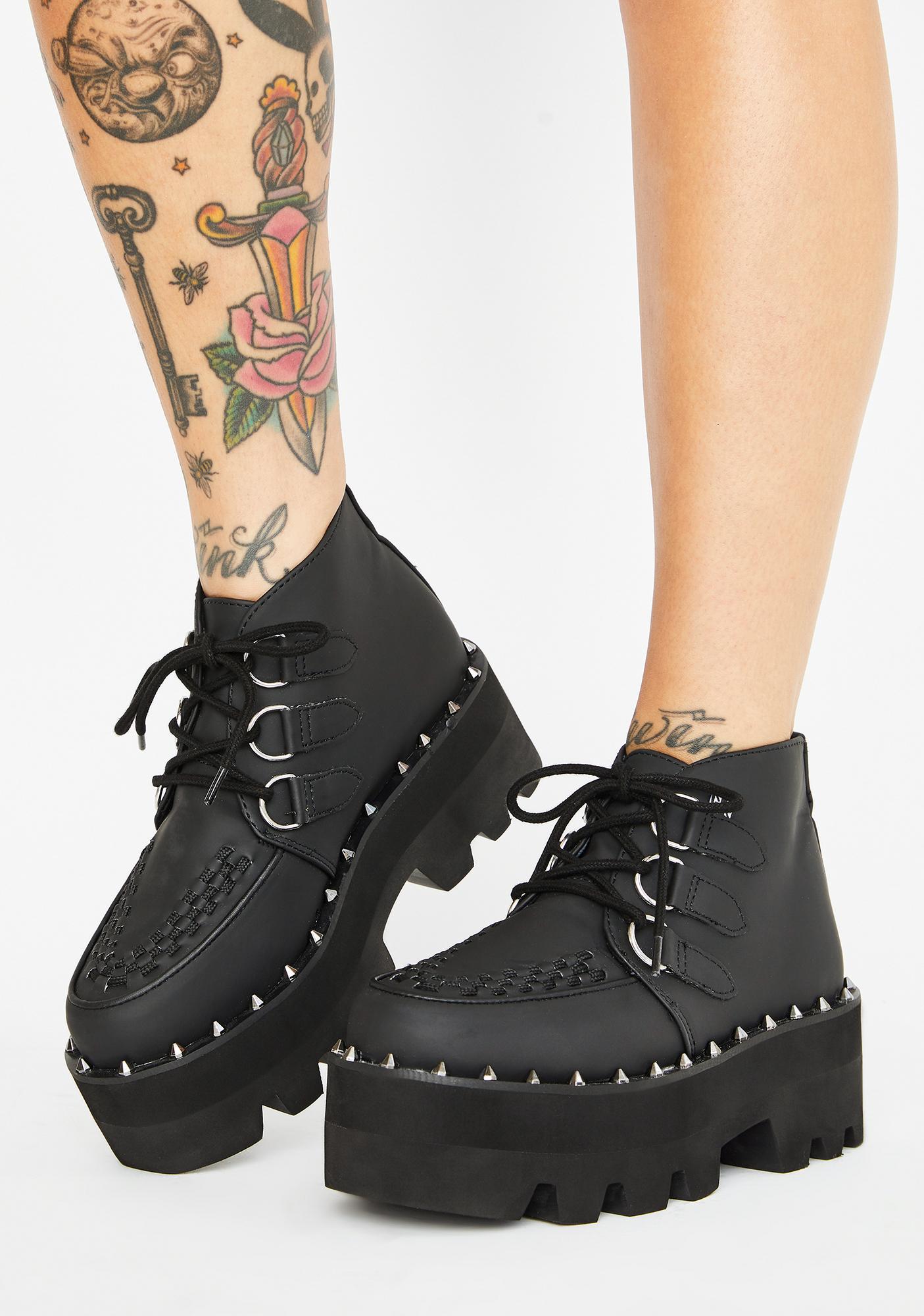 T.U.K. Black Dino Lug Sole Boots