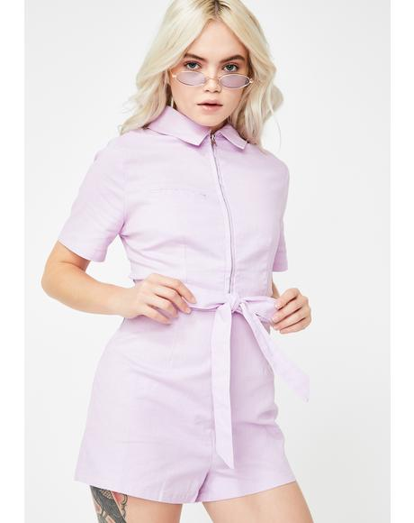 Pink Zip-Up Tie Waist Romper