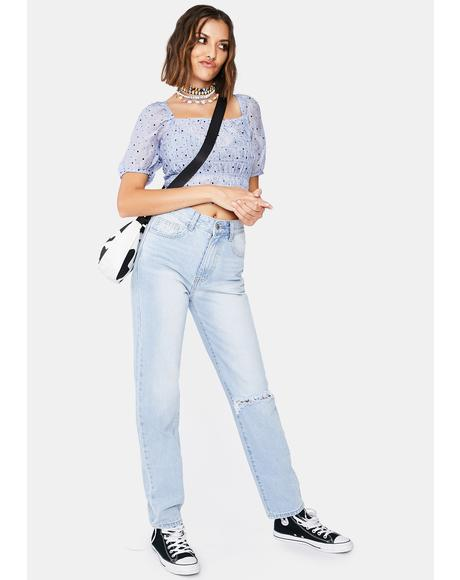 Light Wash Straight Leg Denim Jeans