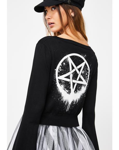 Bloody Hell Pentagram Kimono Cardigan