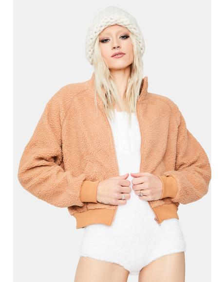 Apricot Take Me Home Sherpa Jacket