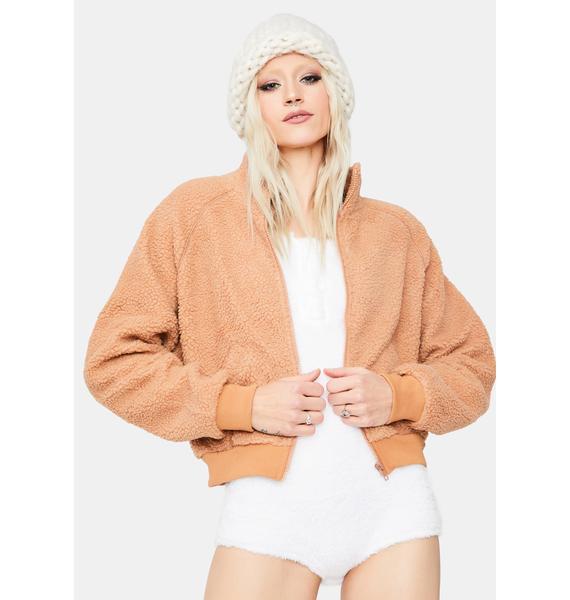 Apricot Take Me Home Sherpa Jacket