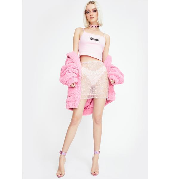 Dyspnea Pink Ms Slinky Sequin Skirt