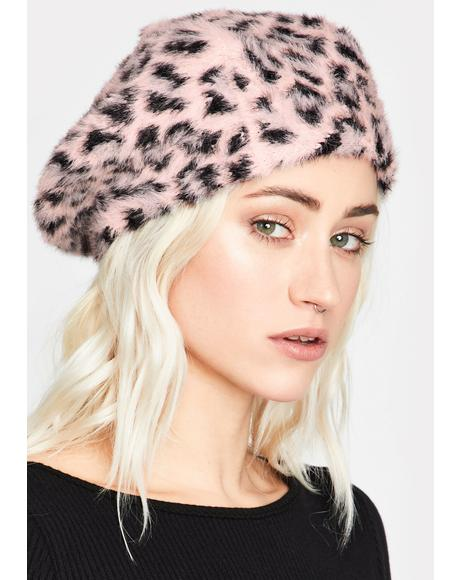 Pretty Top Cat Faux Fur Beret