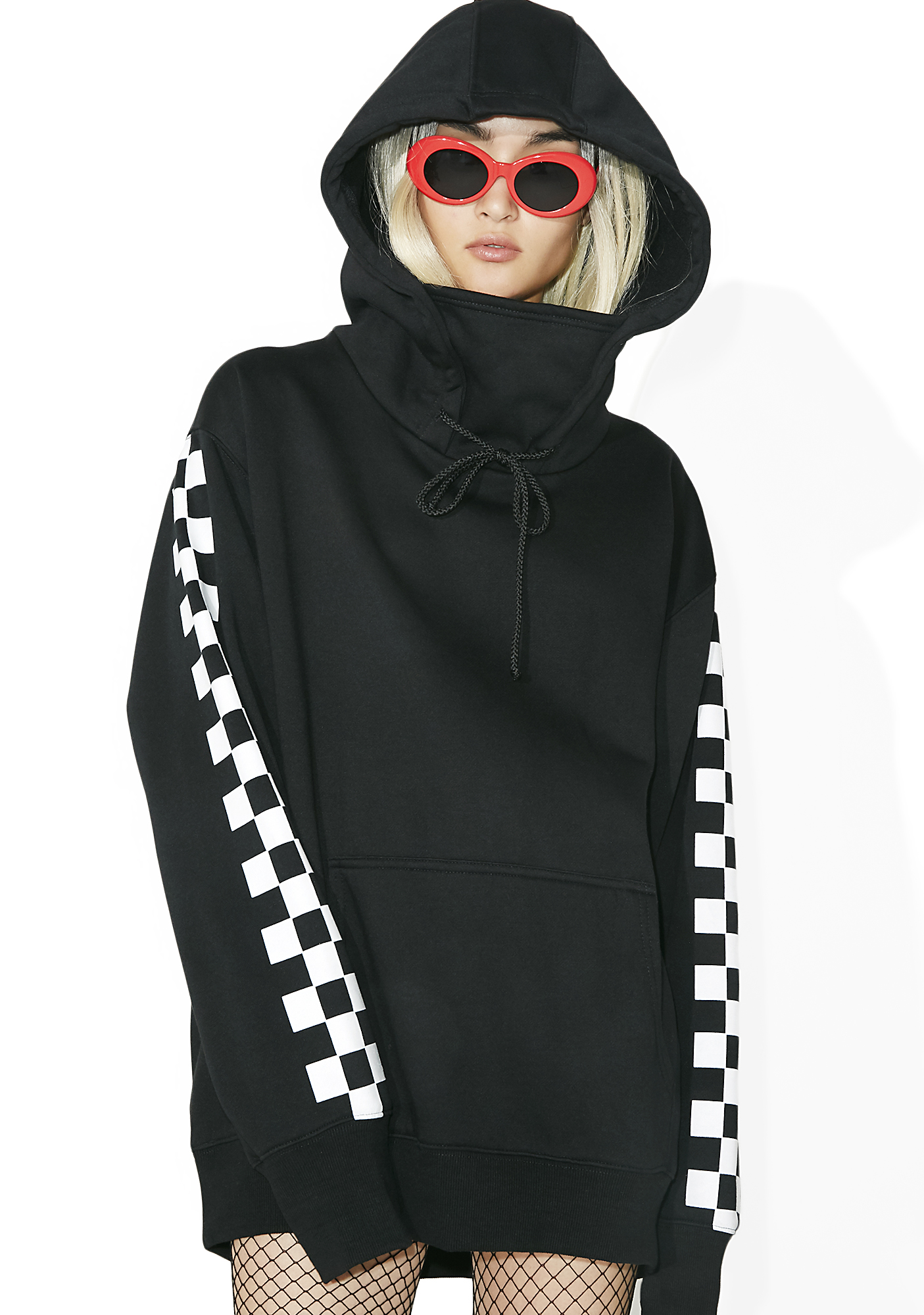 Current Mood Checkerboard Masked Pullover Hoodie Dress Black