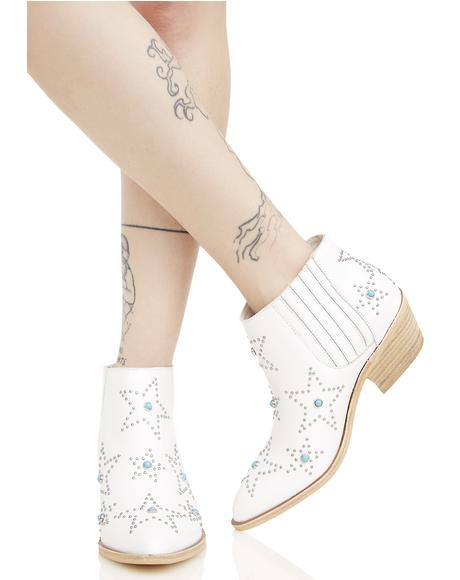 White Leather Star Ankle Boots