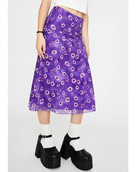 Purple Daisy Taura Midi Skirt