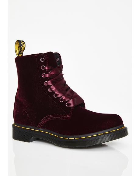 1460 Cherry Red Pascal Velvet Boots
