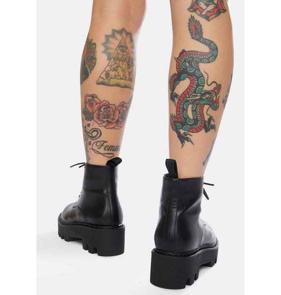 Lamoda Black Stitch Unforgiven Platform Ankle Boots