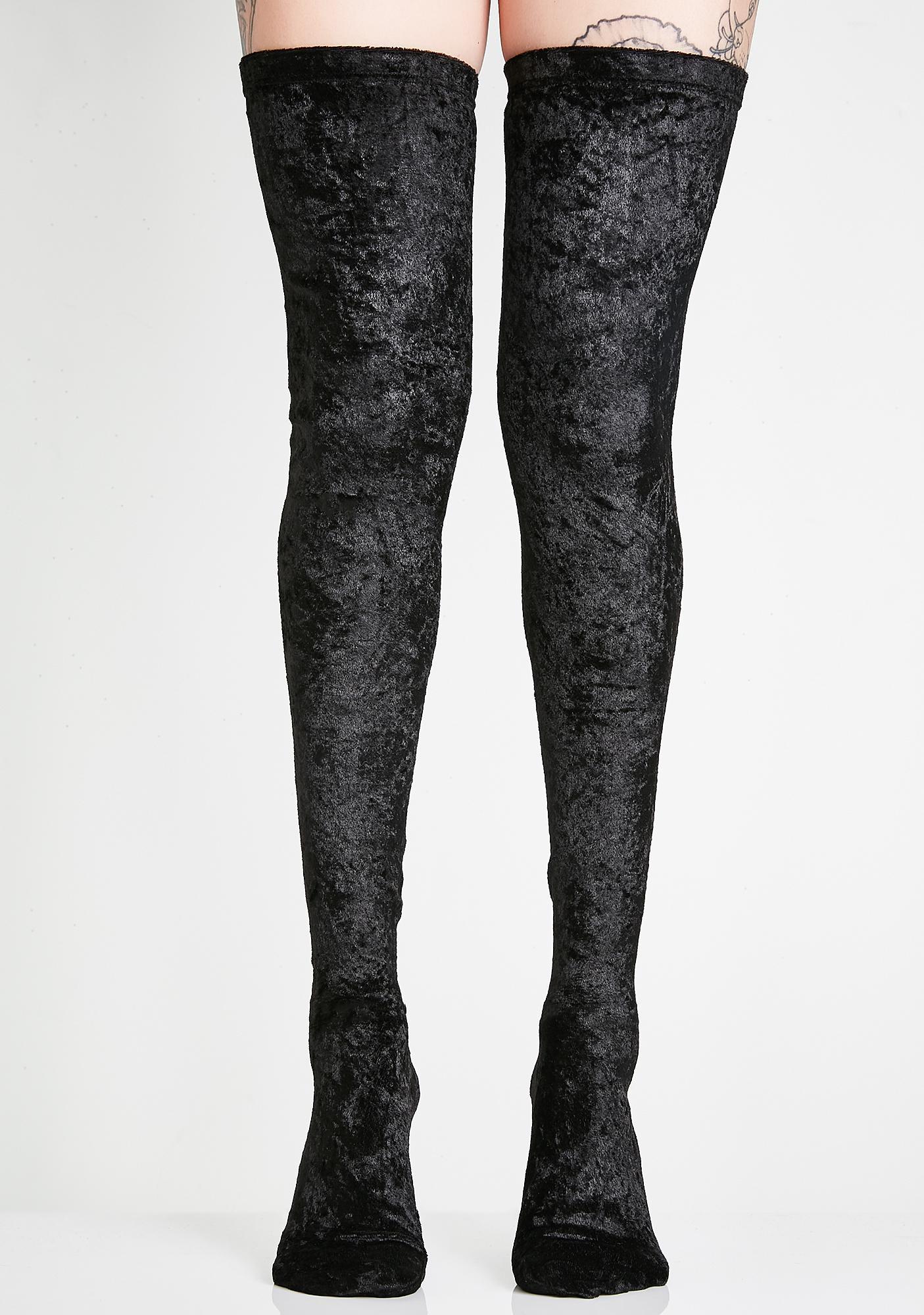 b3a7e31130d Crushed Velvet Thigh High Socks
