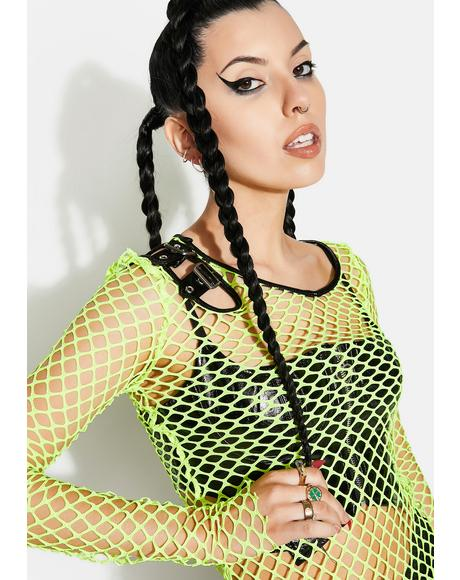 Neon Personality Punk Perspective Mesh Tee Shirt