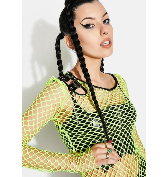 Punk Rave Neon Personality Punk Perspective Mesh Tee Shirt