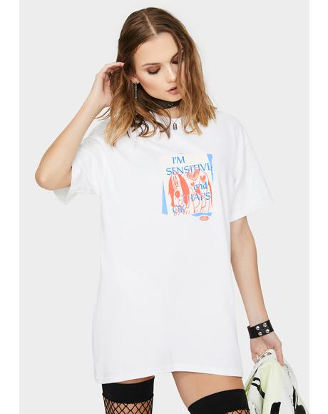 White Sensitive Graphic Tee