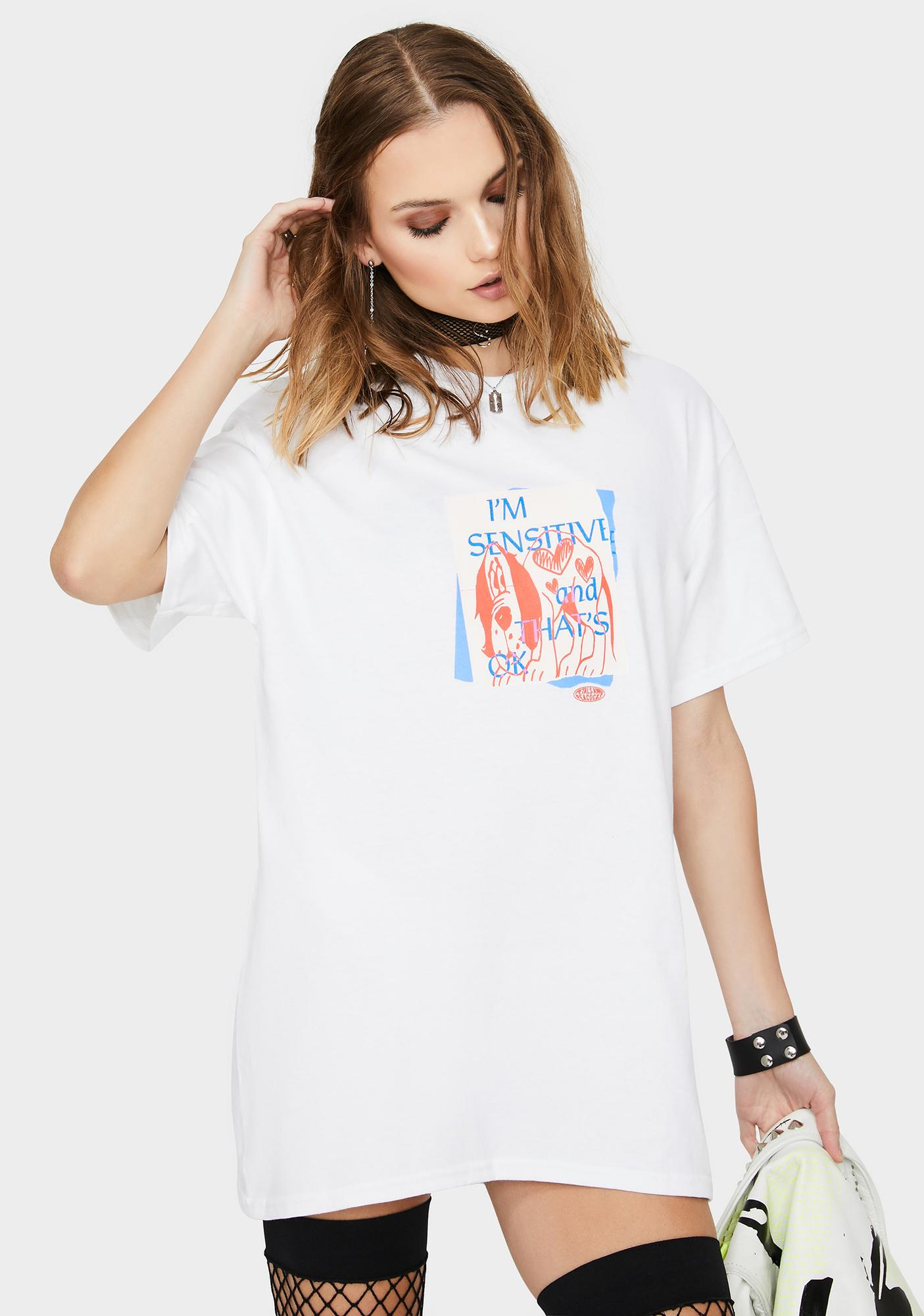 Petals and Peacocks White Sensitive Graphic Tee