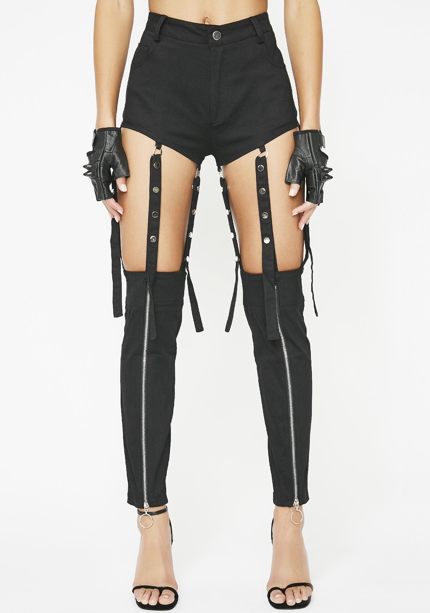 a676b413a5e96 high waist chaps shorts sexy | Dolls Kill