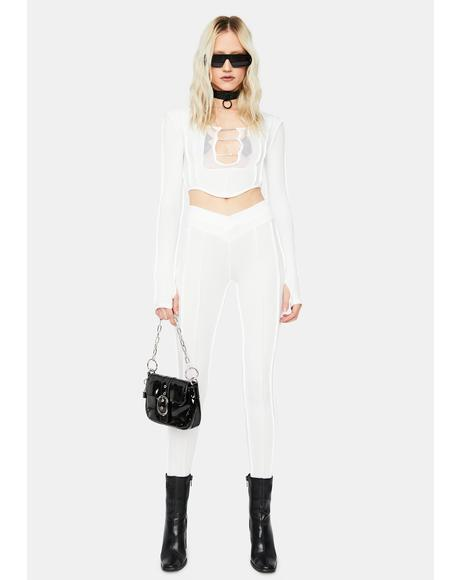 Ivory Take Me On Exposed Seam Crop Top Set