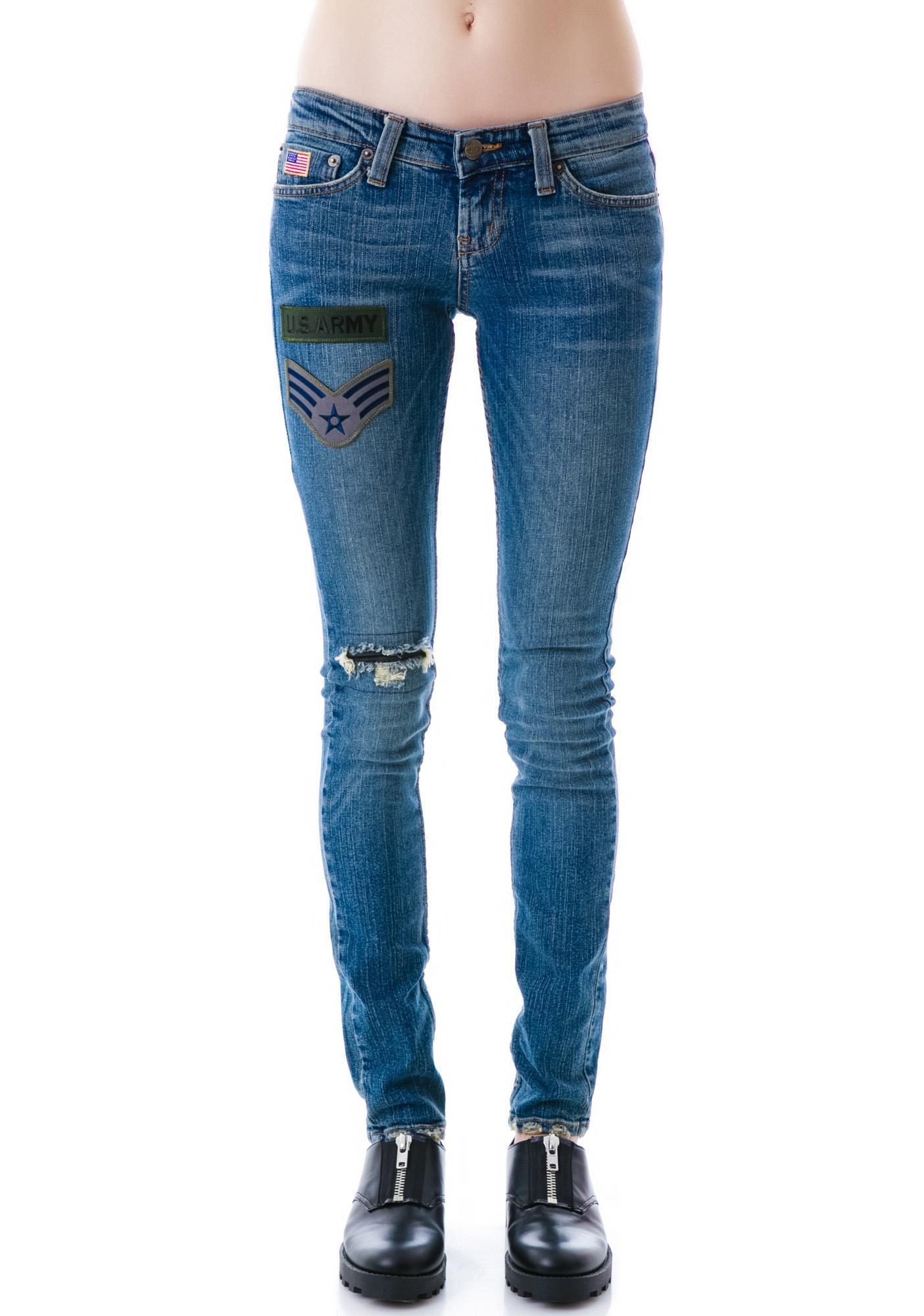 JET by John Eshaya Skinny Army Patch Jeans