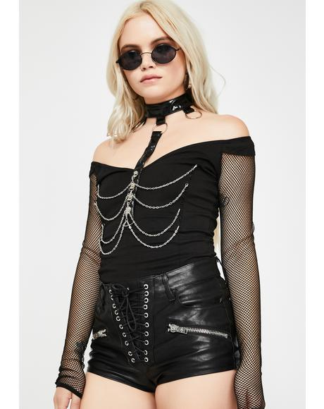Fishnet Sleeve Chain Harness Top
