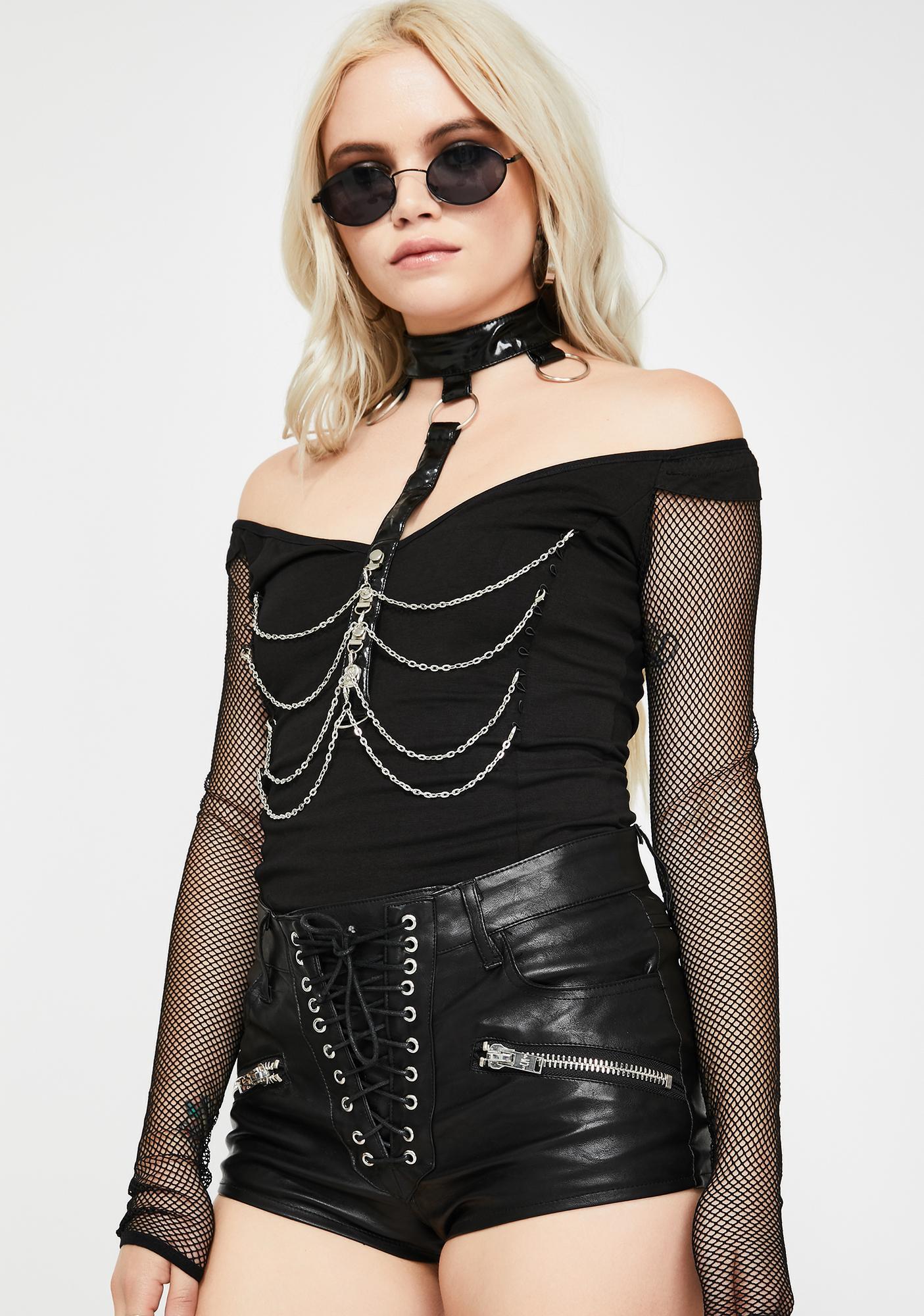 Devil Fashion Fishnet Sleeve Chain Harness Top