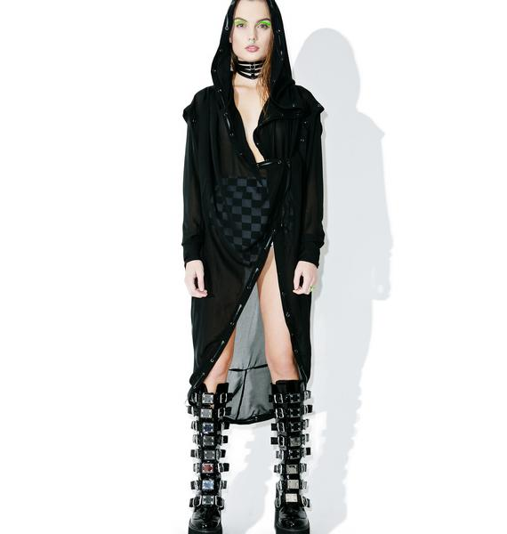 Punk Rave Darkness Falls Sheer Trench Coat