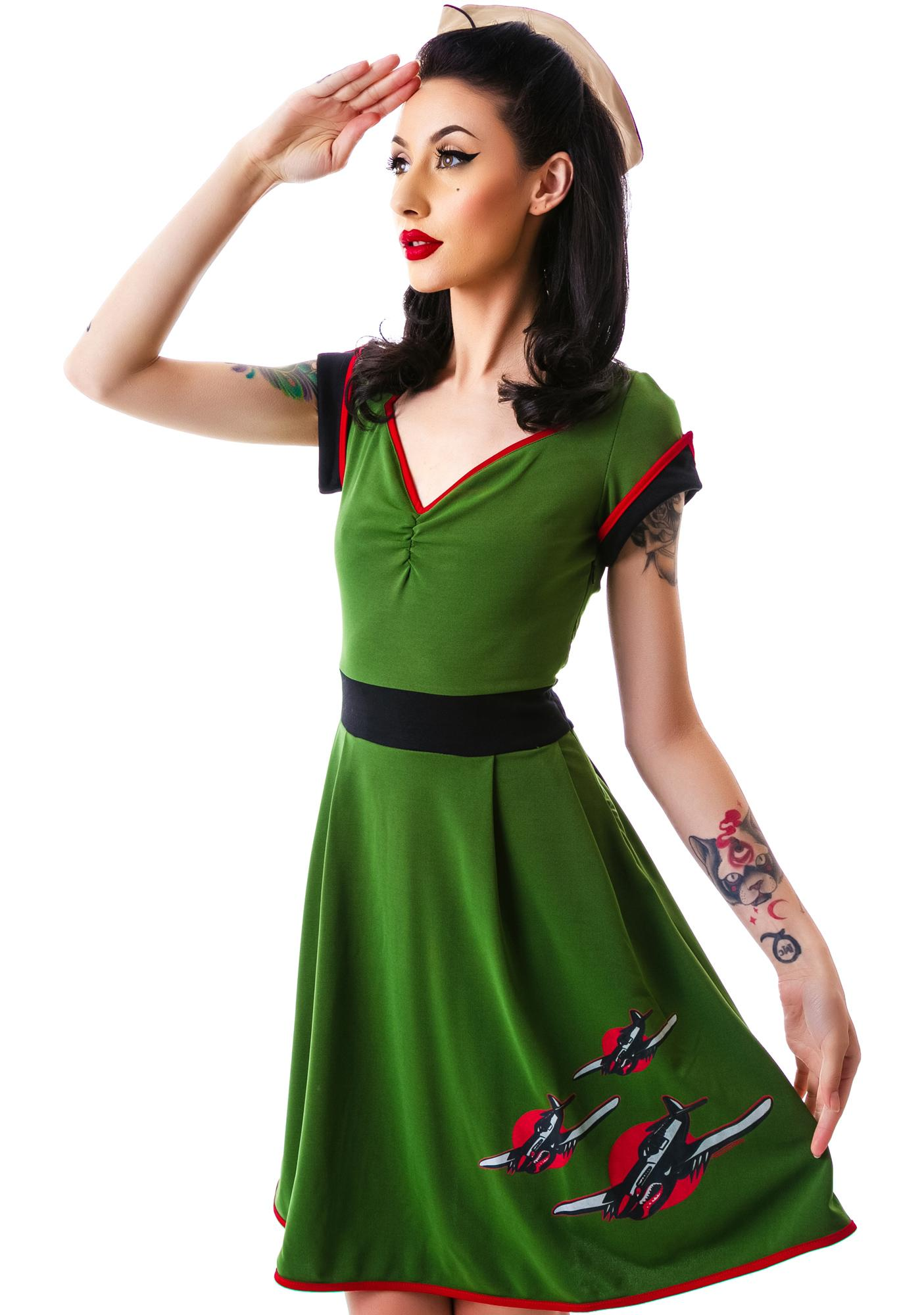 Sourpuss Clothing Keep Em Flying Dress