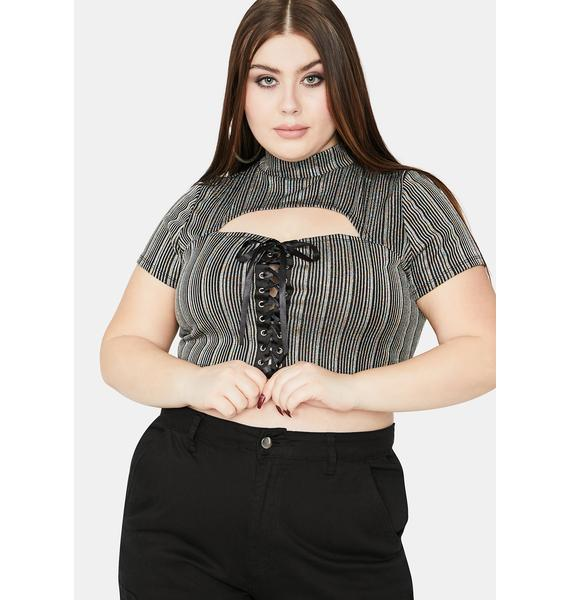 You Better Behave Lace Up Crop Top