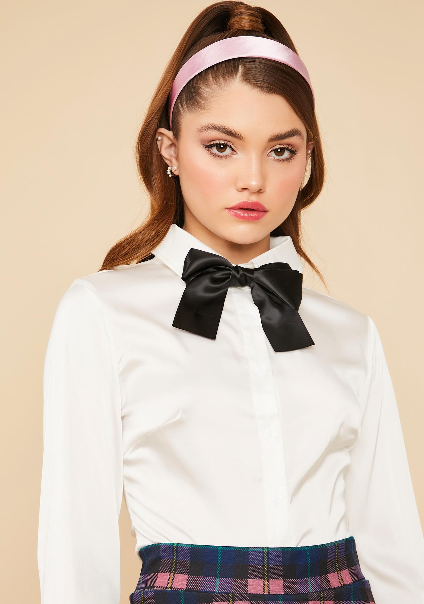 Blanc Modern Heiress Satin Button Up Top