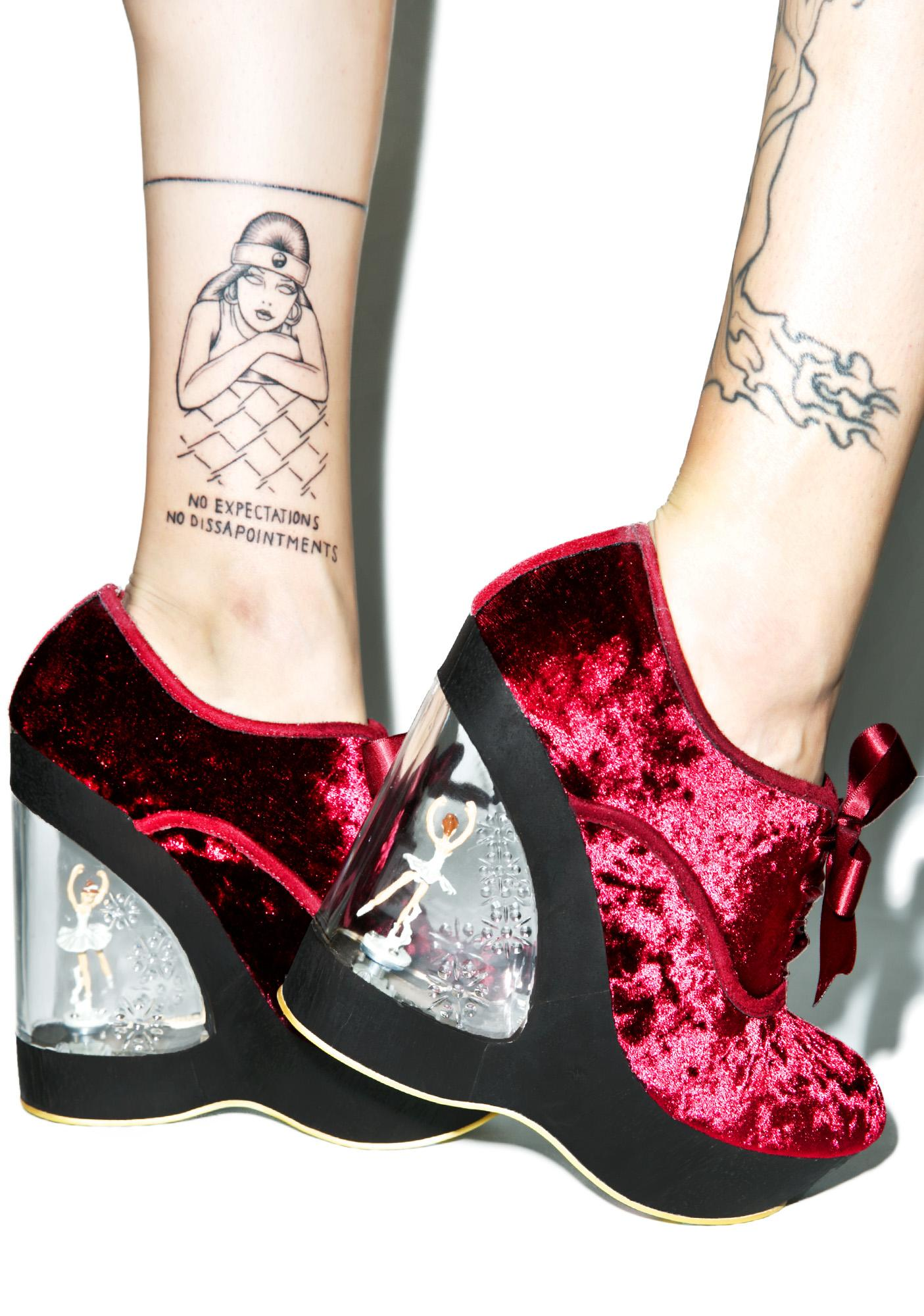 857a8bdb79 Irregular Choice Glissade Ballerina Wedges in Burgundy | Dolls Kill