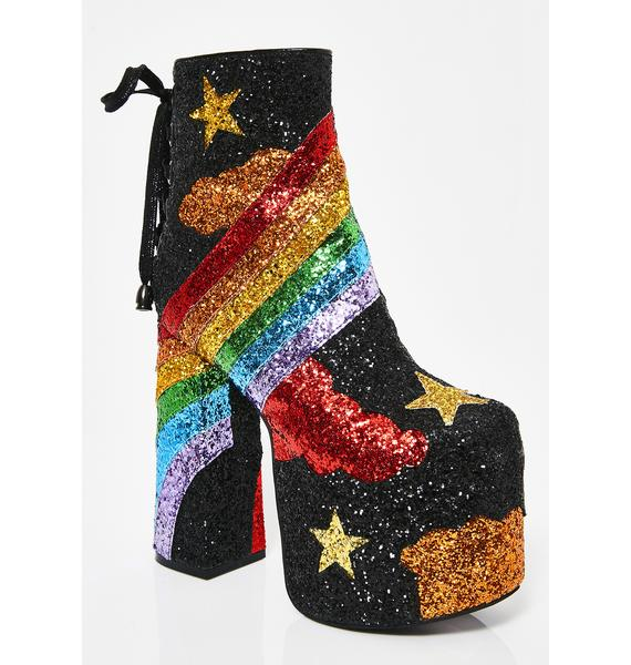Current Mood Rainbow Shock Glitter Boots