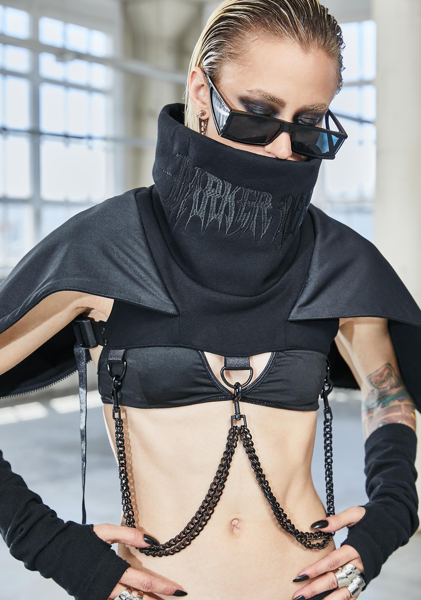 DARKER WAVS Bassline Hooded Chain Harness Shrug