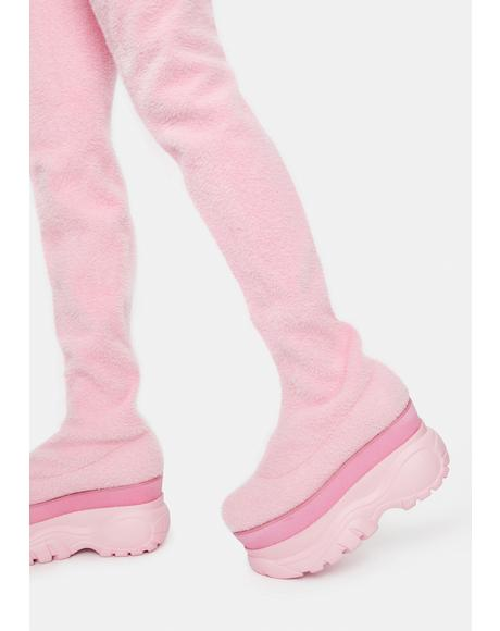 Sugar Coated Dreams Fuzzy Thigh High Boots