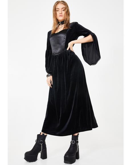Velvet And Satin Maiden Dress