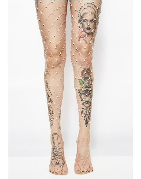 Pearly Princess Embellished Fishnets