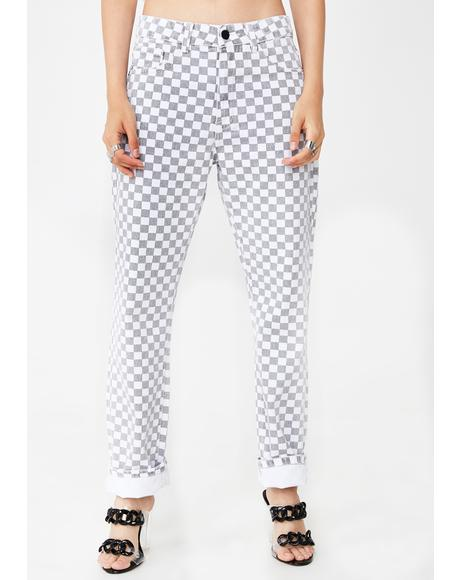 Checkered Skinny Jeans