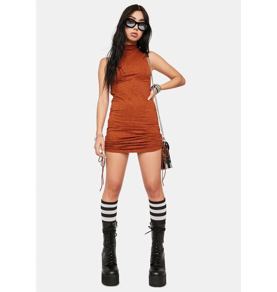 Motel Brown Mini Croc Ady Bodycon Dress