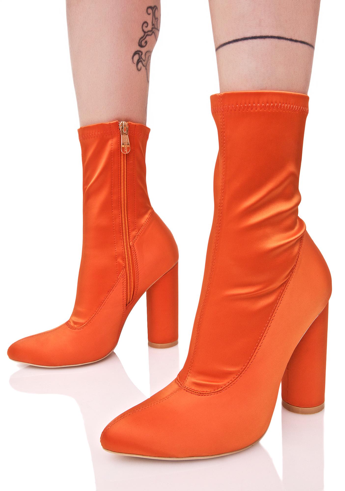 Orange Satin Ankle Boots