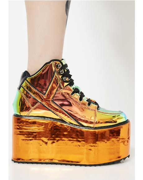 Qozmo Orange Atlantis Platform Sneakers