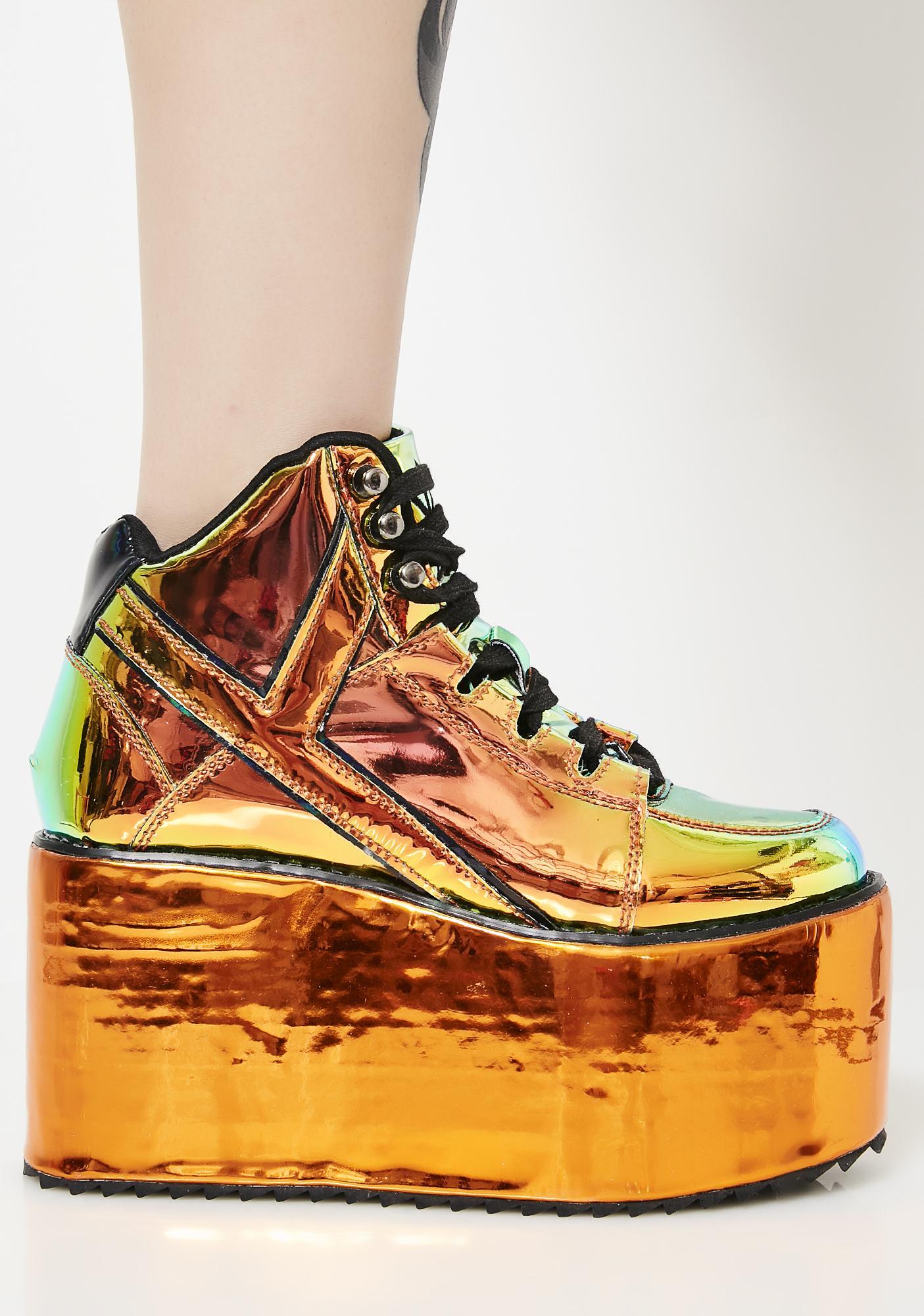 Y.R.U. Qozmo Orange Atlantis Platform Sneakers