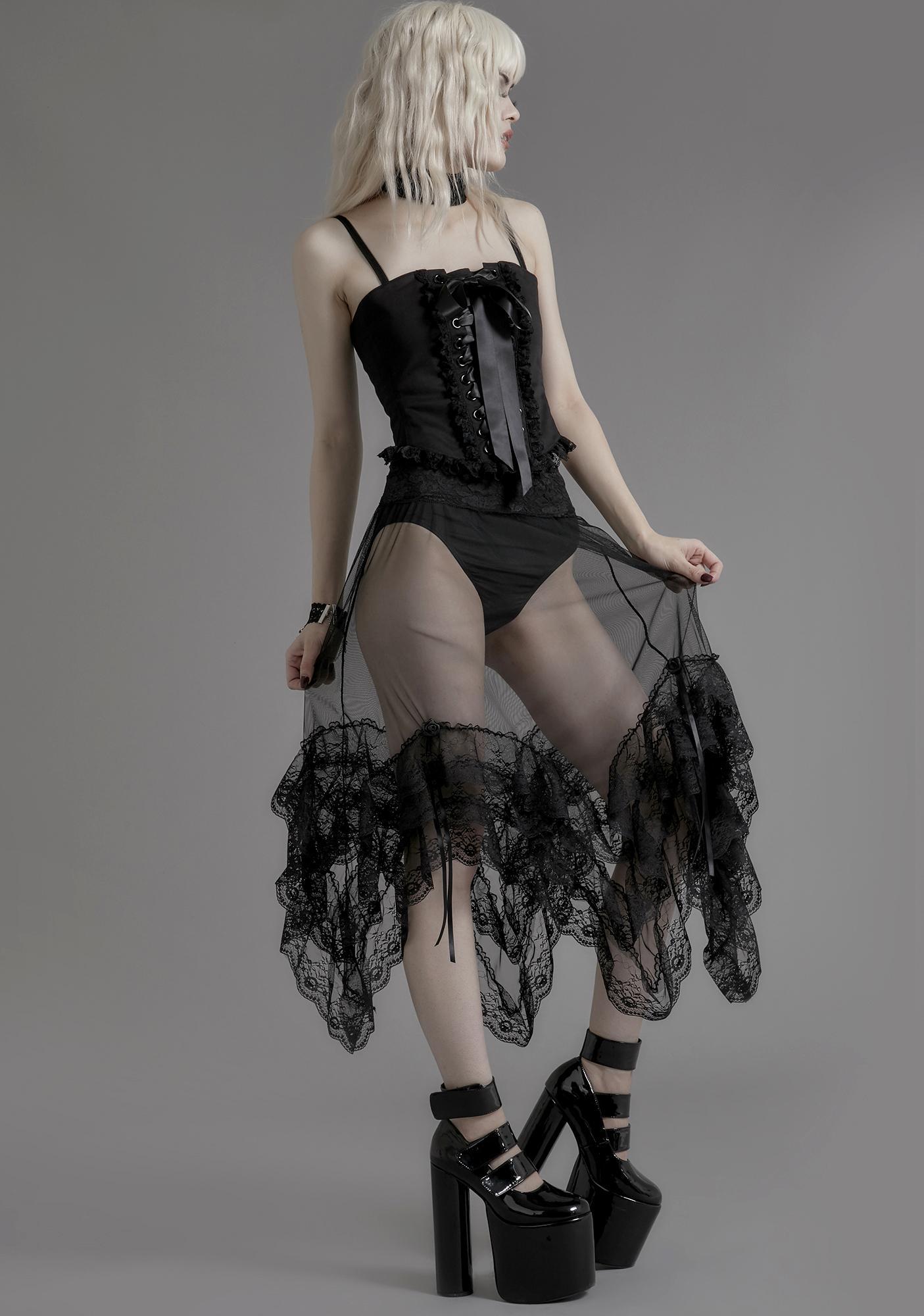 Widow Nightshade Lace Midi Skirt