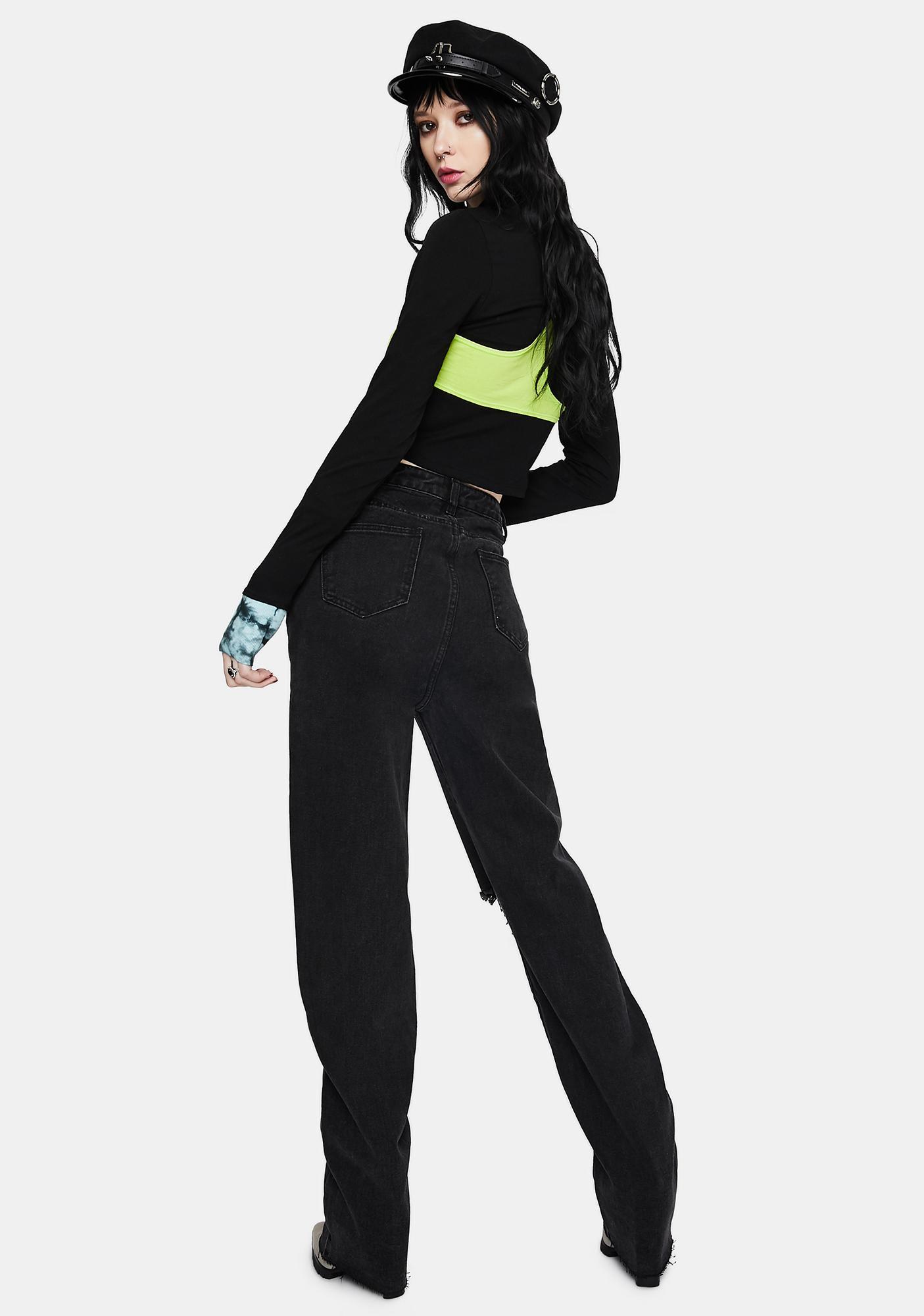 Momokrom Black Distressed Long Jeans